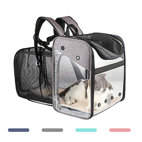 FOOING Estensibile Zaino per Cani Gatti, Borsa da Trasporto Trasportino Estraibile Indicato per Animali Domestici Completa Portatile per Viaggi Sia Lunghi Che Corti (Grigio)
