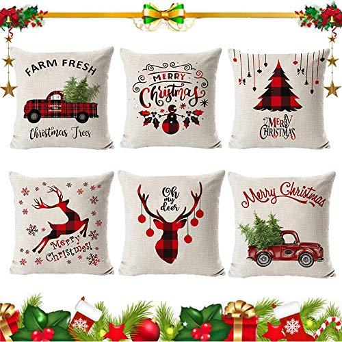 6 Piezas Navideñas para Cojines,Fundas de Almohada navideñas,Lino Funda de Almohada Navidad,Navidad Decoración Hogar Fundas Almohada,Almohada Decorativa de Navidad