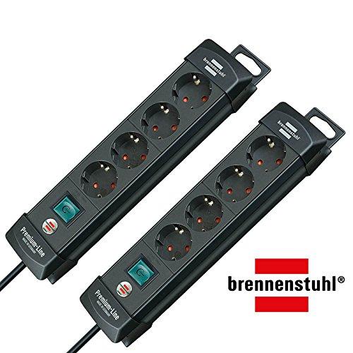 Brennenstuhl Premium-Line Stekkerdoos, 4-voudig (stekkerdoos met schakelaar en 1,8 m kabel, 45 ° hoek van de geaarde stekkerdozen), kleur: zwart, pak van 2