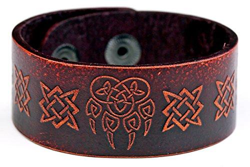fishhook Vintage Punk Retro Slavic Bear Paw Veles Viking Irish Celtic Knot Symbol Leather Bracelet