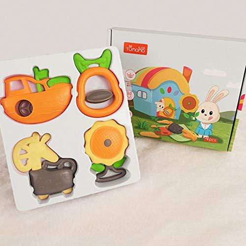 LILY Jouets pour Bébé 3-6-12 Mois Main Puzzle Hochet Bébé Nouveau-Né Peut Mordre Teether Vieille Cloche De Chevet 0-1 Ans,A,4pieces