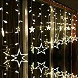 Djfungshing Star Curtain Window Fairy Lights Twinkle Christmas Party Wedding Decor Star String Lights 138 LED (Warm White)