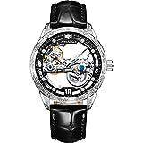 JSDUN Men's Leather Watch Fashion Dress Skeleton Flywheel Automatic Mechanical Self Winding Waterproof Luminous Wrist Watch