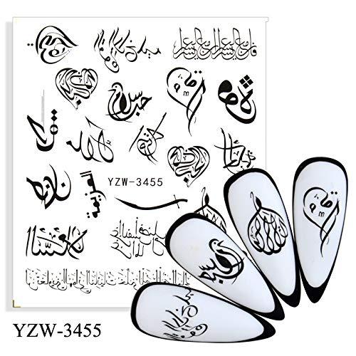 PMSMT 2021 nuevos diseños Pegatinas de uñas Floral geométrico Negro Flor Serpiente ABC Letra Arte de uñas Transferencia de Agua decoración calcomanías Deslizadores