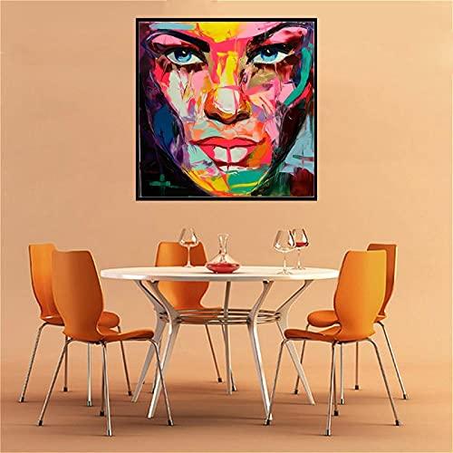 ImpresióN En Lienzo Retrato Cara Abstracta Mujer Obra De Arte Arte De La Pared Sala De Estar DecoracióN De La Pared Lienzo Pintura ImpresióN 80x80cm Sin Marco