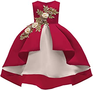 Fheaven Baby Girl Princess Dress Party Floral Bridesmaid Pageant Gown Birthday Party Wedding Dress (6-7 Years, Red)