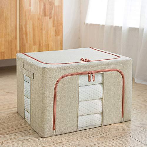 Feixing Caja de almacenamiento de tela Oxford con marco de acero para ropa sábanas manta