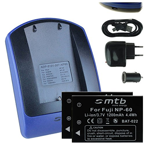 2 Baterìas + Cargador (USB/Coche/Corriente) para Fuji NP-60 / Toshiba PA1733E, PDR-BT3 / Ricoh DB-40 / +weitere. - Ver Lista