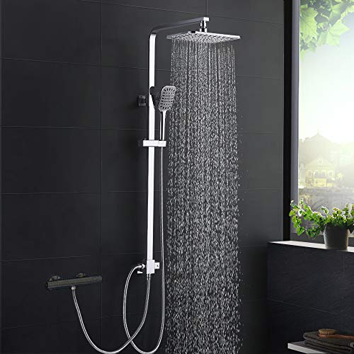 Duschsystem Modern DUTRIX, Regendusche ohne Wasserhahn Dusche für Wandmontage Duschsäule Duschset, Verstellbare Duschstange für Badezimmer, Chrome