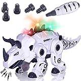 Beestech LED Walking Robot Dinosaur Toy, Take Apart Dinosaur Toys for 3, 4,5,6