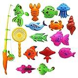 Yissma angeln Spielzeug, Badespielzeug, Magnetisches angeln Spielzeug Wasserdichtes schwebendes Spielzeug in der Badewanne Lernspielset zum Angelnlernen