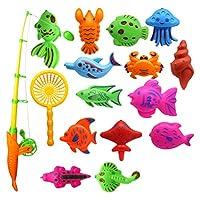 Sefod さかなつりゲーム 水遊び 釣り遊び 夏にぴったり 磁石 釣り 体験 練習 模型 マグネット 磁気釣りおもちゃ フィッシング ゲーム 魚釣り お風呂 プール 知育玩具 子供用 プレゼント 15PCS