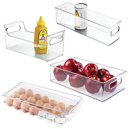 mDesign 4er-Set Kühlschrankbox – 2 x Kühlschrankboxen, Gewürz Caddy und Eierbox mit Deckel – praktische Aufbewahrungsboxen aus Kunststoff – ideale Küchen Ablage für den Kühlschrank – durchsichtig
