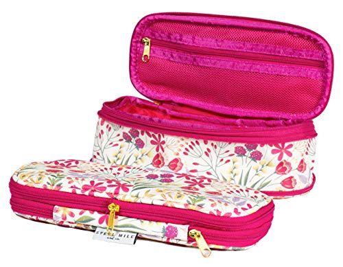 Women's Big Capacity Pencil Case Holder, Cute Floral Expandable Travel Zipper Pouch, Storage Organizer for Art Supplies, Makeup, Toiletries, and Tech Accessories, Wildflowers