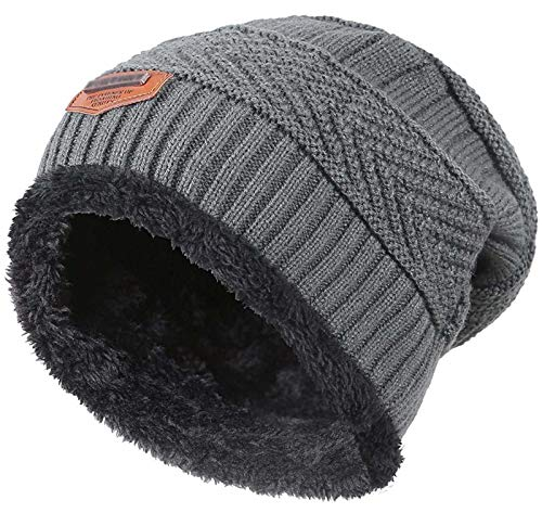 HINDAWI Winter Beanie for Girls Boys Kids (5-14 Years) Warm Snow Knit Hats Windproof Slouchy Skull Cap Grey