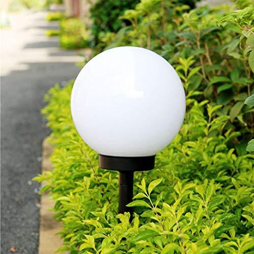 LED Lampione Solare, JIJI886 LED Rotondo Bianco Solare Automatico Di Controllo Della Luce Prato Palla Luce Per Giardino Esterno Percorso Cortile Cortile Illuminazione Decorazione (Bianca)
