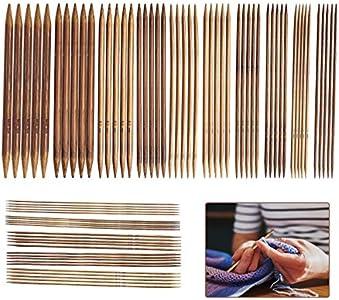 LATTCURE Juego de 75 agujas de tejer de bambú, juego de agujas de doble punta, para principiantes y profesionales, juego de agujas de tejer de 2 a 10 mm, para calcetines, guantes y bufandas