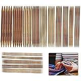 LATTCURE Stricknadeln Bambus Set, 75 Stück Nadelspiel Set Doppelspitzig Handarbeit Stricknadeln für Anfänger und Profis Knitting Needles Stricknadel Set 2 bis 10 mm für Socken Handschuhe und Schals