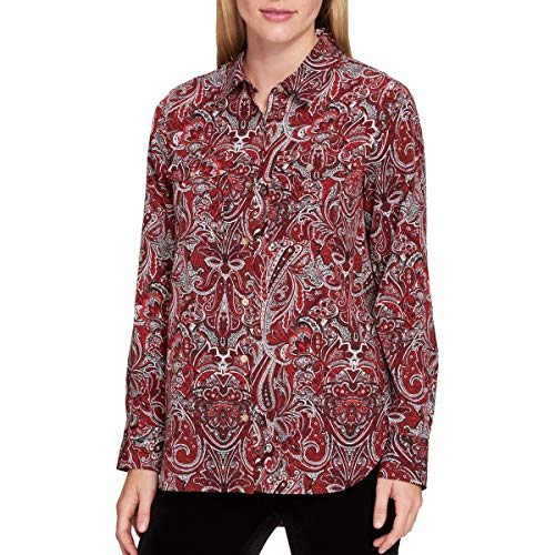 Tommy Hilfiger Paisley Print Womens Small Button Down Shirt Reds