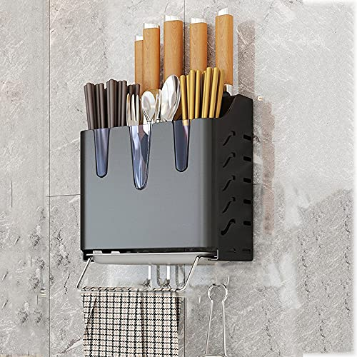 Soporte Cuchillos, Colgador Utensilios Cocina con 3 Ganchos, Rejilla para utensilios de cocina con toallero,Black