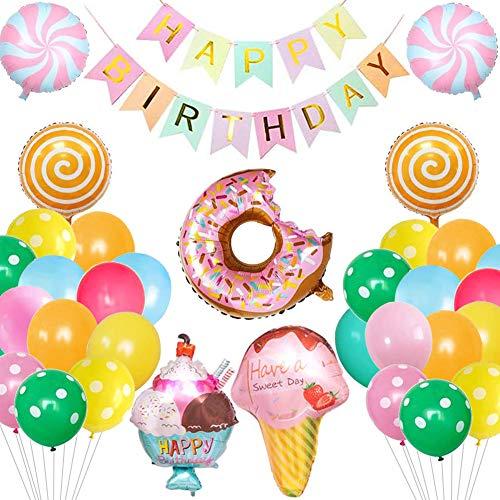Decoracion Cumpleaños,BETOY Globos de Fiesta Caramelo Exquisito Donut Helado Globo de Aluminio Pancarta de Happy Birthday para Fiestas de Cumpleaños,Baby Showers,Bodas,Decoración de Escenas
