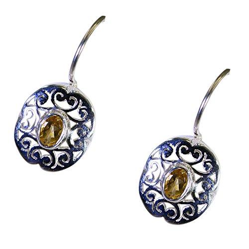 CaratYogi Pendientes de Plata Naturales de Citrino para Las Mujeres 925 Sterling Fashion Jewelry November Birthstone Fish Hook Oval