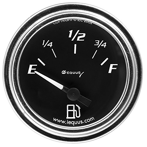 Equus 7362 2' Fuel Level Gauge, Chrome with Black Dial