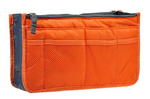 Vercord Purse Organizer Insert for Handbags Bag Organizers Inside Tote Pocketbook Women Nurse Nylon 13 Pockets Orange Small