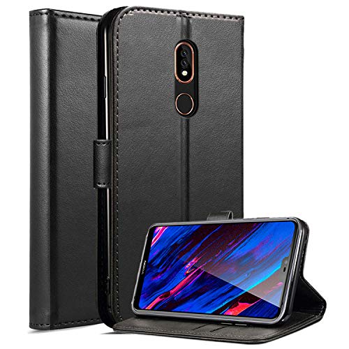 Nokia 3.1 Plus Custodia Case, Custodia in Pelle Magnetica Premium con Custodia Antiscivolo e Supporto per Kickstand Custodia con Coperchio per schede Integrata per Nokia 3.1 Plus (Black Book)
