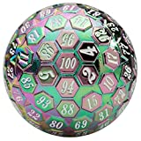 Orb of Predestined Fate: Prismatic Spray - Giant Metal Polyhedral d100 Dice - 45mm Cool 100 Sided Premium Novelty Tabletop RPG Fantasy Die Accessory for Roleplaying Games