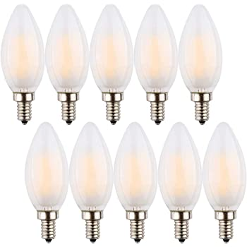 Silk Wrapped Royal Designs LB-9014-10 Candelabra Torpedo Shaped Decorative Indoor or Outdoor E12 Small Base 60W Incandescent 2700K Dimmable Light Bulb