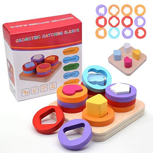 Wooden Sorting & Stacking Montessori Toys for Toddlers,Geometri Shape Color Recognition Blocks Puzzle Fine Motor Skill Educational Preschool Learning Board Game Gifts for Kids Age 3 Year Old