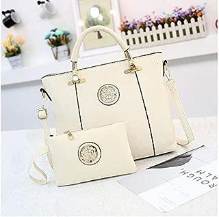 WTYD Single Shoulder Bag 2 in 1 Casual PU Leather Shoulder Bag Ladies Handbag Messenger Bag (Black) (Color : White)