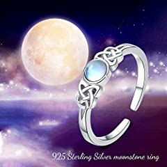 Moonstone Ring Sterling Silver Celtic Knot Ring Rainbow Moonstone Jewellery for Girls Women Valentine's Day Gifts #3