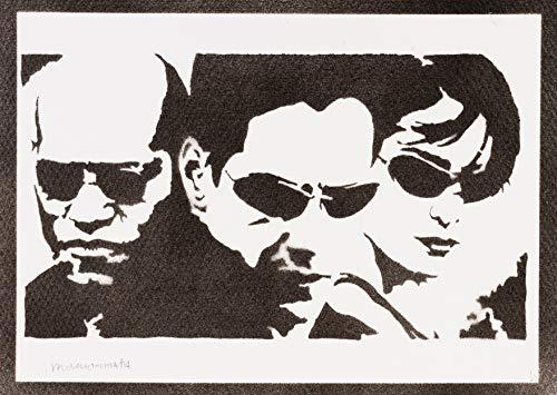 Poster The Matrix Neo Trinity y Morfeo Grafiti Hecho a Mano Handmade Street Art - Artwork