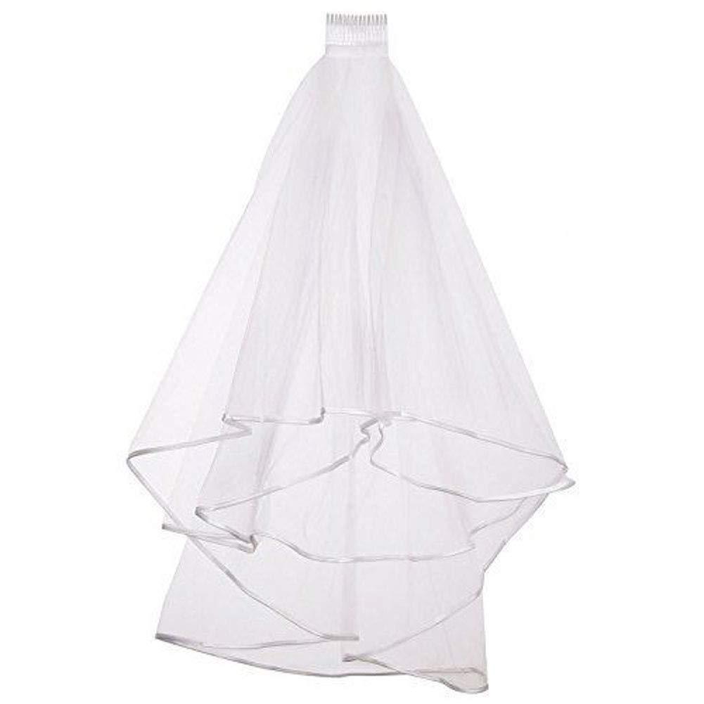 White Bridal Veil 2 Tier Ribbon Edge Center Cascade Wedding Veil with Comb for Bride Hair Accessories