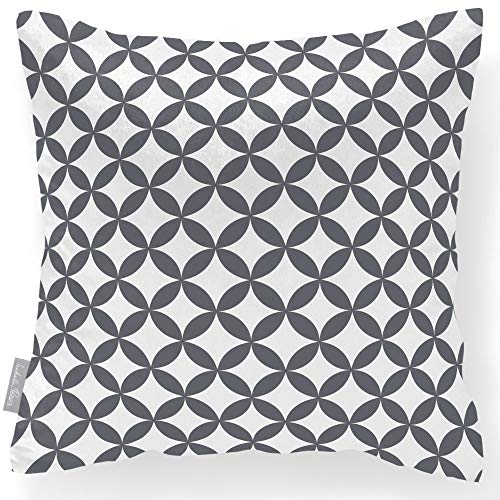 Izabela Peters  Luxurious Designer Velvet Cushion - Soft Touch - Marrakech Collection - Bahia - Grey & White - Designed, Printed & Handmade in The UK
