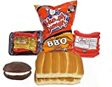 Box of Maine BBQ Box with Red Hot Dogs, Chocolate Whoopie Pie, Humpty Dumpty Chips and New England Split Top Hot Dog Rolls
