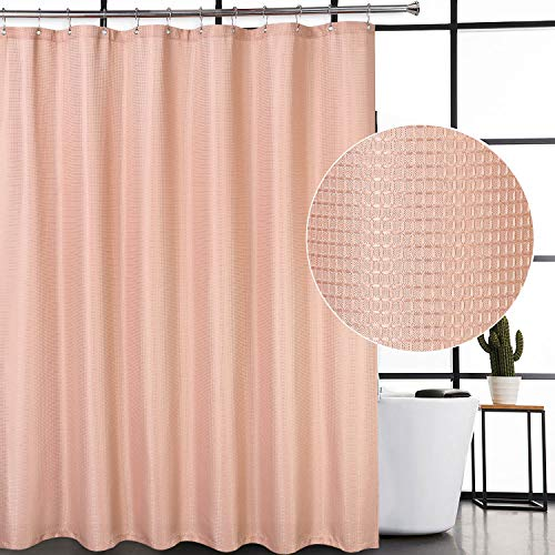 CAROMIO Waffle Woven Textured Polyester Fabric Shower Curtain for Bathroom with Grommets Top Design, Blush, 72x72 Inch