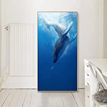Paintsh Porch Porch Porch Decoration Painting Villas Public Place Hanging Painting Mural Ocean World Whale,43 * 83Cm,White...