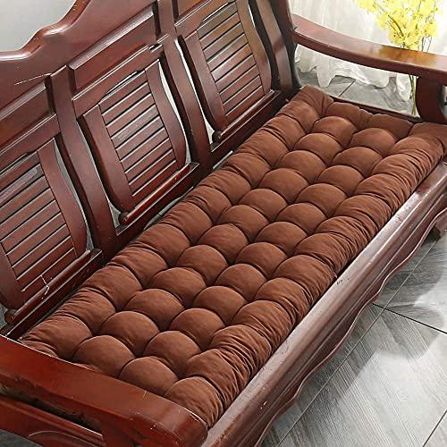 Cojín para banco de jardín Cojín cómodo para asiento Muebles de interior al aire libre Chaise Columpio Cojín para silla 8cm Colchón grueso para banco Colchón de repuesto 2-3 plazas-150x55cm-Marrón