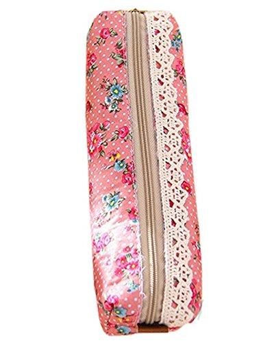 DAYAN Mode Mini Retro Flower Floral Lace Crayon Forme Pen Case maquillage professionnel Make Up Purse Zipper Pouch