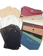 レターセット 封筒 20枚 便箋 24枚 シンプル アンティーク メッセージカード 封筒付 グリーティングカード バースデーカード かわいいメッセージを大切な人へ
