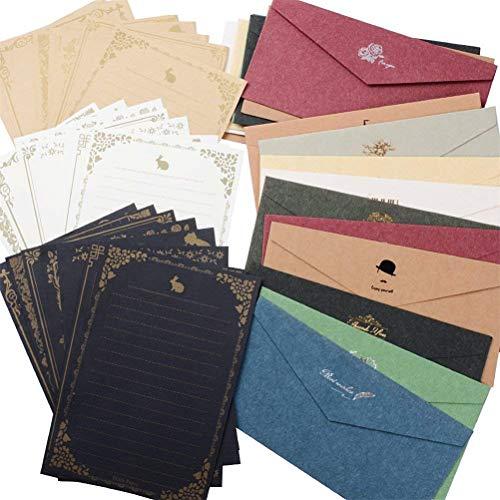 レターセット 封筒 20枚 便箋 24枚 シンプル アンティーク メッセージカード 封筒付 グリーティングカード ...