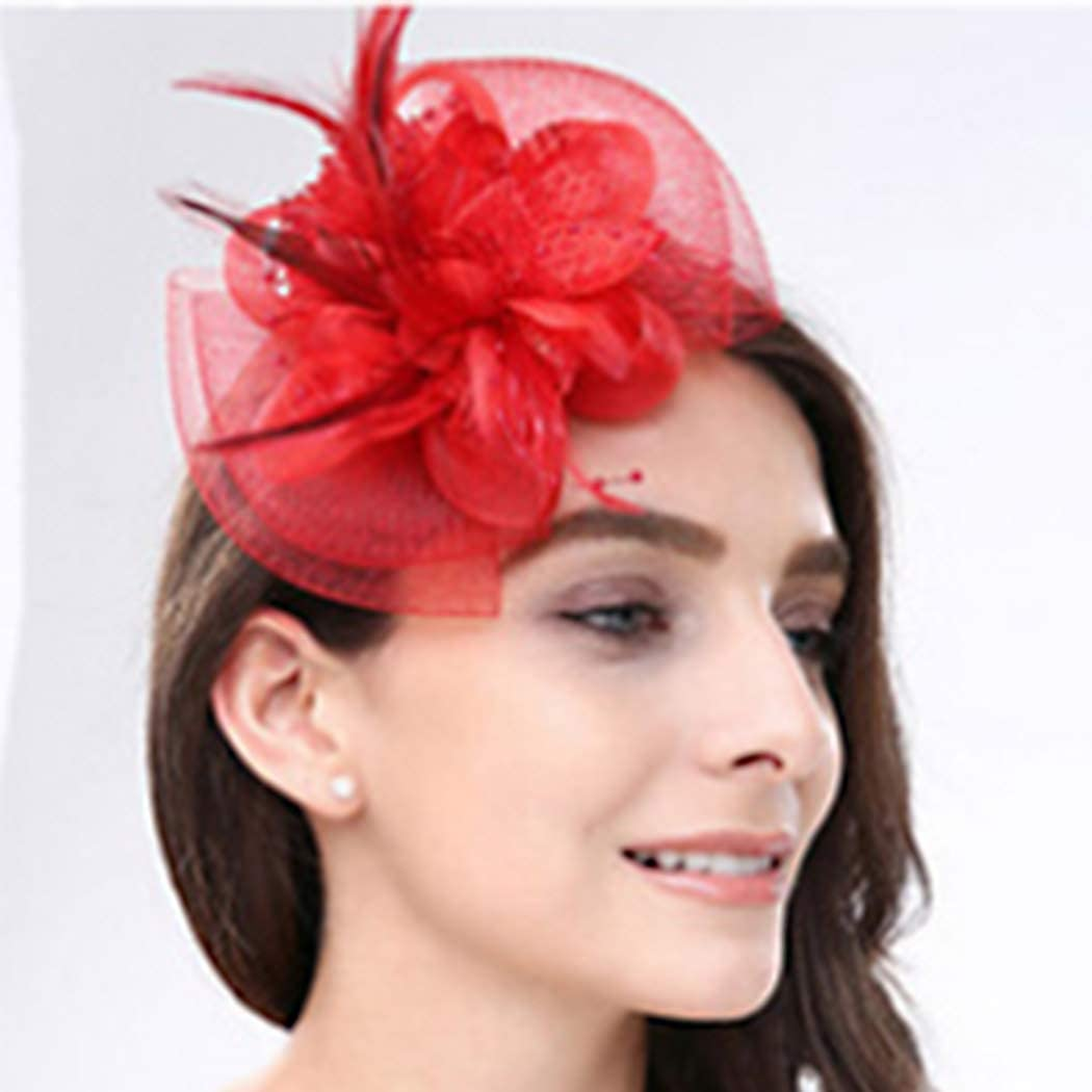 Dreamyn Vintage Fascinator Hats Tea Cocktail Derby Party Hair Clips Flower Feather Headwears for Women Girl