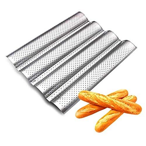 Lady of Luck Baguette-Backblech Perforiert mit Antihaftbeschichtung für 4 Baguettes Baguetteform Baguette Backblech Blech Brotbackform (silberfarben)
