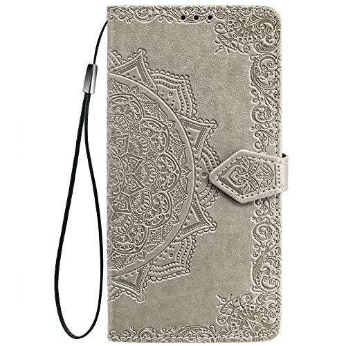 ALAMO Mandala Hülle für Xiaomi MI 11, Premium PU Leder Handyhülle mit Kartensteckplätze - Grau