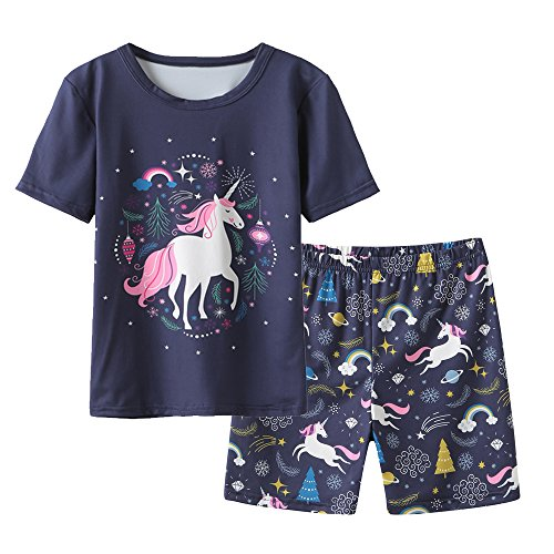 Product Image of the MyFav Big Girls' Summer Pajama Sets Cute Patterns Sleepwears Cartoon Children...