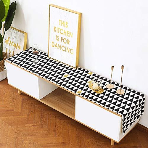 Geometric Lattice Printed Linen Burlap Table Runner,Home Dining Table 48x220cm