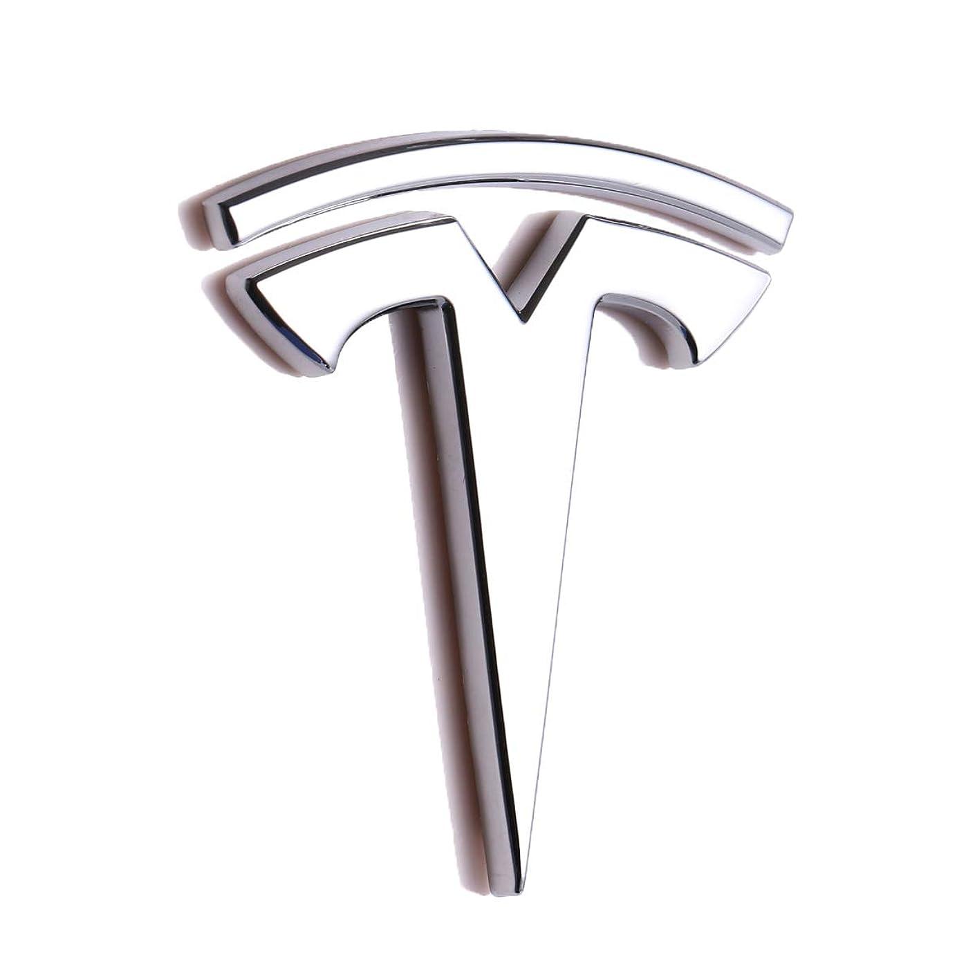 TK-KLZ 3D Metal Car Side Fender Rear Trunk Emblem Sticker Badge Decals for Tesla Roadster Model S Model X Model 3 TESLASUV Decorative Accessories (Silver)